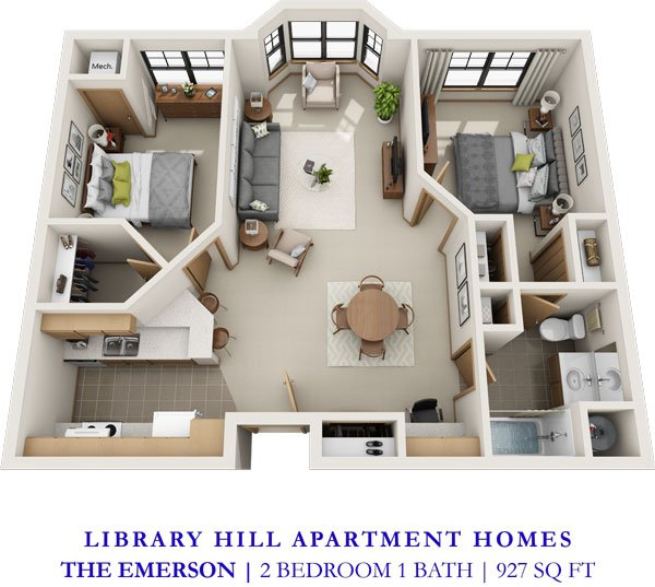 2 Bedrooms 1 Bathroom Apartment for rent at Library Hill Apartments in Milwaukee, WI