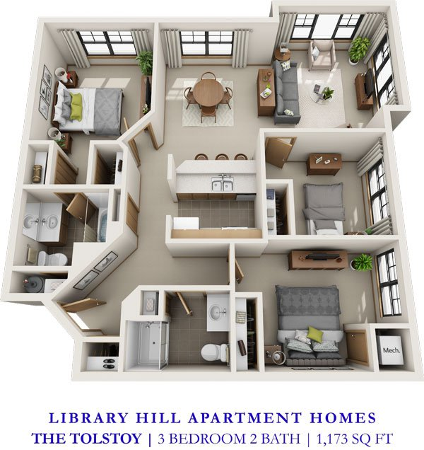 3 Bedrooms 2 Bathrooms Apartment for rent at Library Hill Apartments in Milwaukee, WI