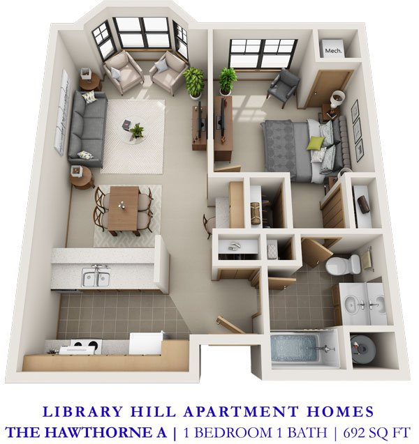 1 Bedroom 1 Bathroom Apartment for rent at Library Hill Apartments in Milwaukee, WI