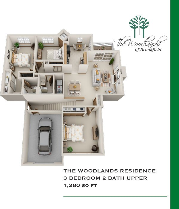 3 Bedrooms 2 Bathrooms Apartment for rent at Woodlands Of Brookfield in Brookfield, WI