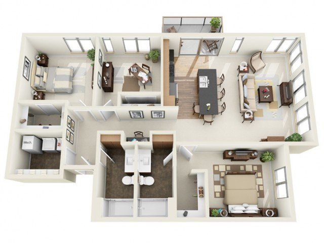 3 Bedrooms 2 Bathrooms Apartment for rent at The North End in Milwaukee, WI