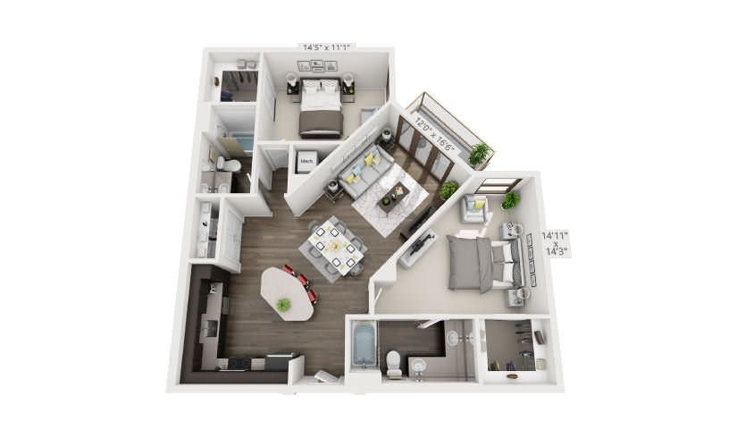 2 Bedrooms 2 Bathrooms Apartment for rent at Groves South Lamar in Austin, TX
