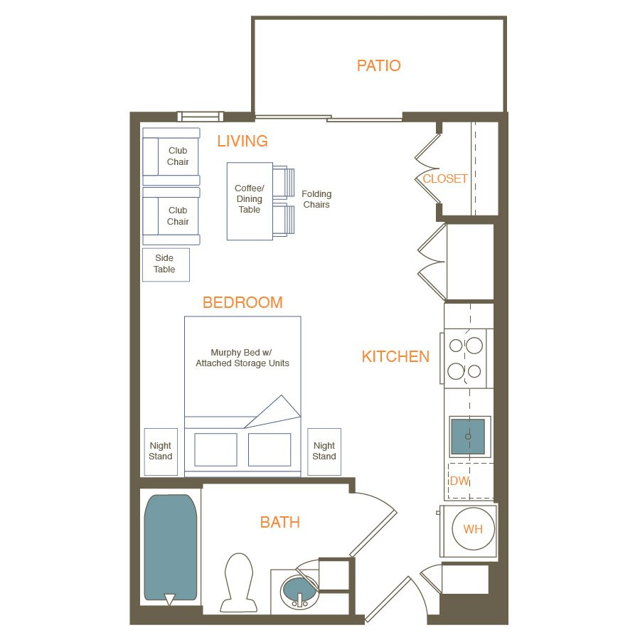 Studio 1 Bathroom Apartment for rent at Indie in Austin, TX