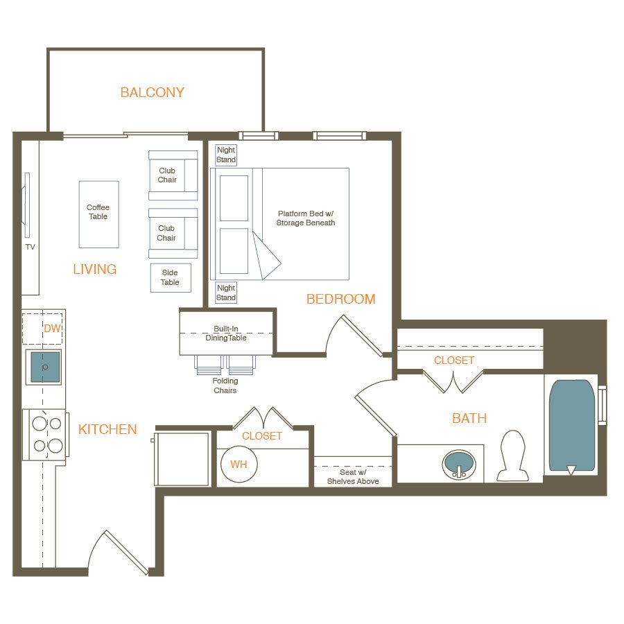 1 Bedroom 1 Bathroom Apartment for rent at Indie in Austin, TX