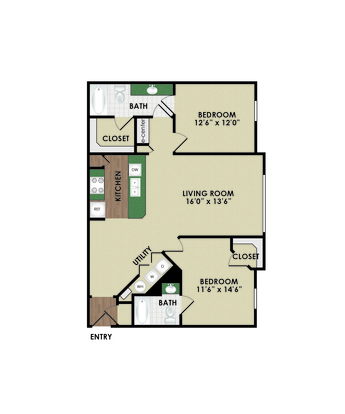 2 Bedrooms 2 Bathrooms Apartment for rent at Central Park in Columbus, OH
