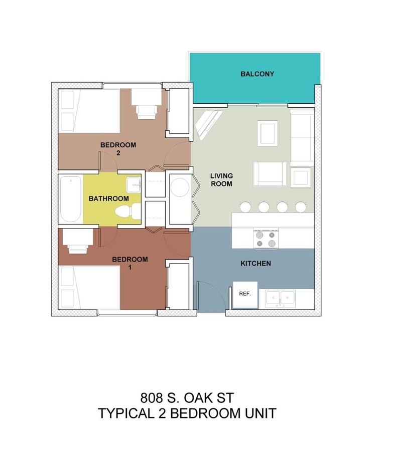 2 Bedrooms 1 Bathroom Apartment for rent at 808 Oak in Champaign, IL