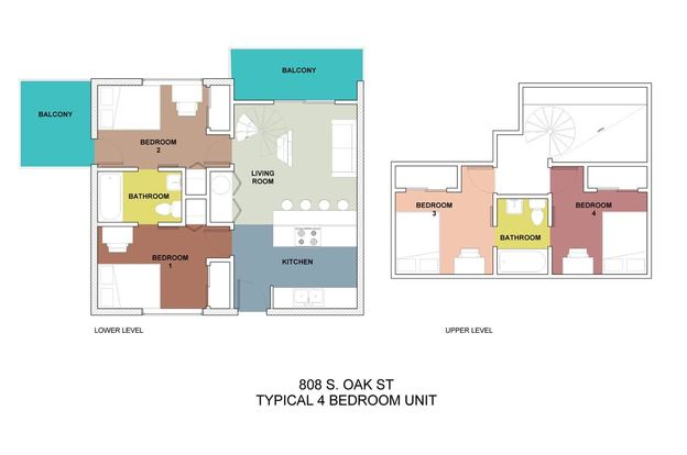 4 Bedrooms 2 Bathrooms Apartment for rent at 808 Oak in Champaign, IL