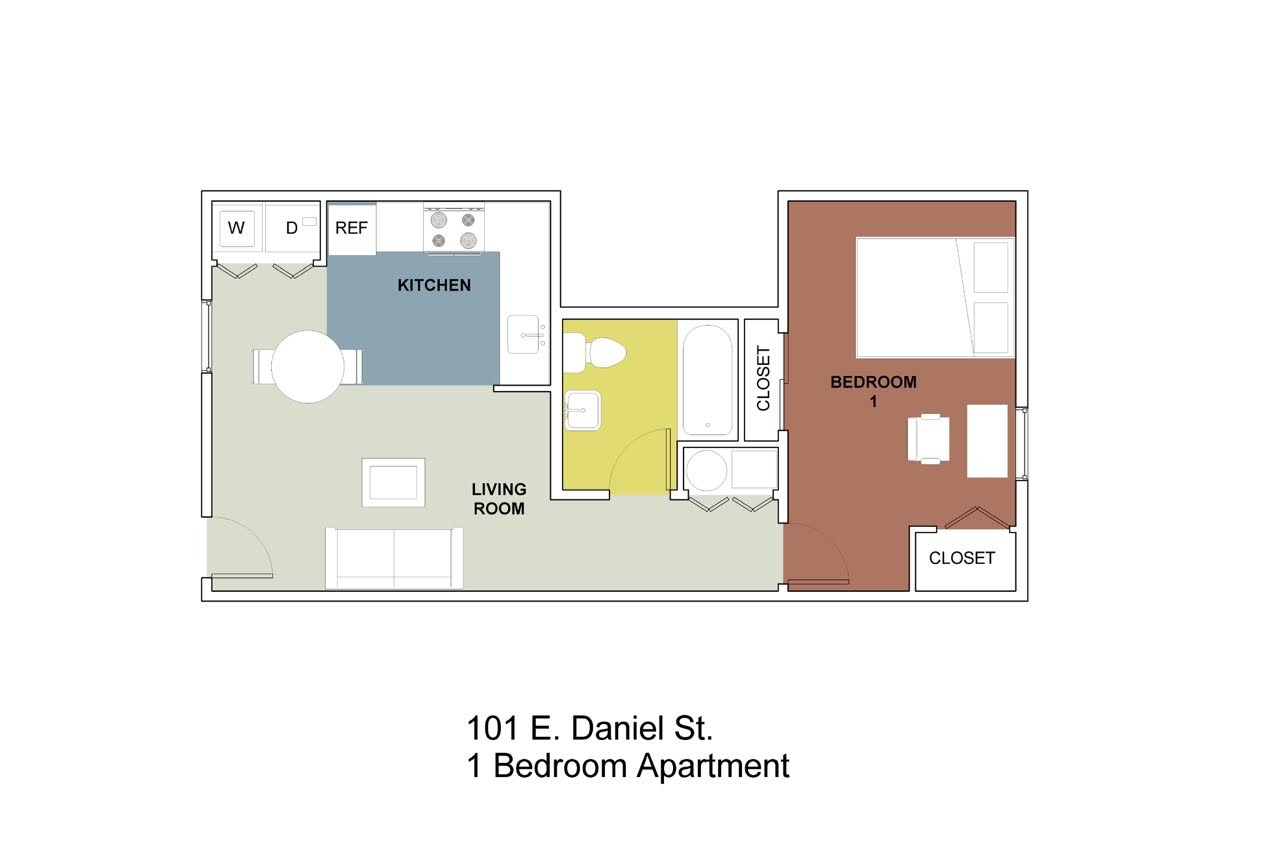 1 Bedroom 1 Bathroom Apartment for rent at 101 Daniel in Champaign, IL