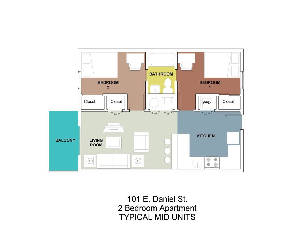 2 Bedrooms 1 Bathroom Apartment for rent at 101 Daniel in Champaign, IL