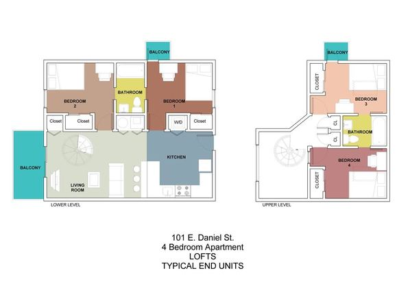 4 Bedrooms 2 Bathrooms Apartment for rent at 101 Daniel in Champaign, IL