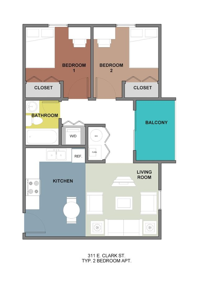 2 Bedrooms 1 Bathroom Apartment for rent at 311 Clark in Champaign, IL