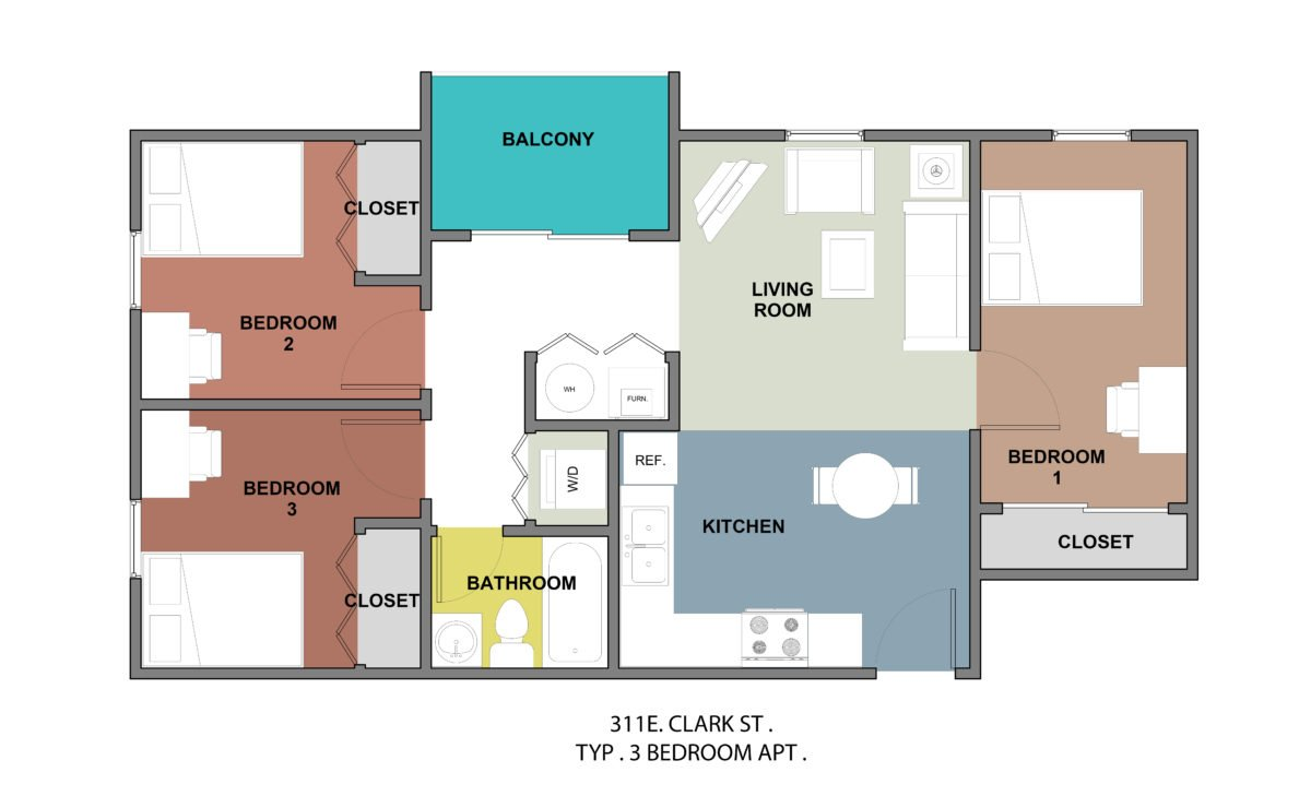 3 Bedrooms 1 Bathroom Apartment for rent at 311 Clark in Champaign, IL