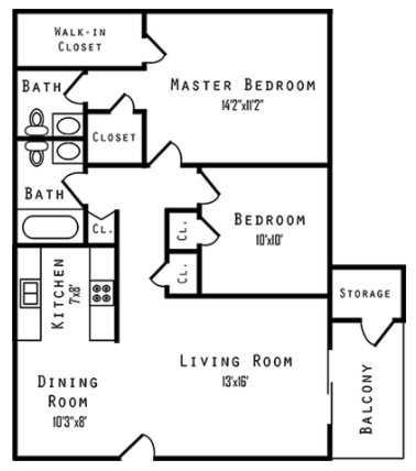 2 Bedrooms 2 Bathrooms Apartment for rent at Walnut Creek Apartments in Florence, KY