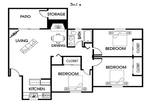 3 Bedrooms 1 Bathroom Apartment for rent at Ramblewood Apartments in Fort Collins, CO
