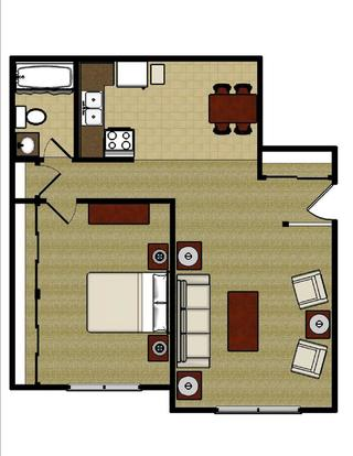 1 Bedroom 1 Bathroom Apartment for rent at Town & Country Apartments in Urbana, IL