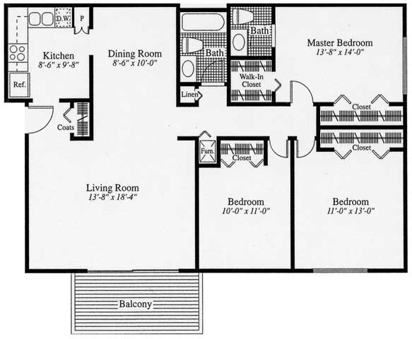 3 Bedrooms 1 Bathroom Apartment for rent at Camelot Place Apartments in Saginaw, MI