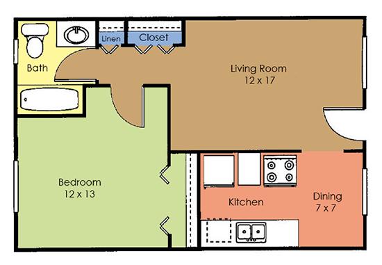 1 Bedroom 1 Bathroom Apartment for rent at Concorde Club Apartments in Romulus, MI