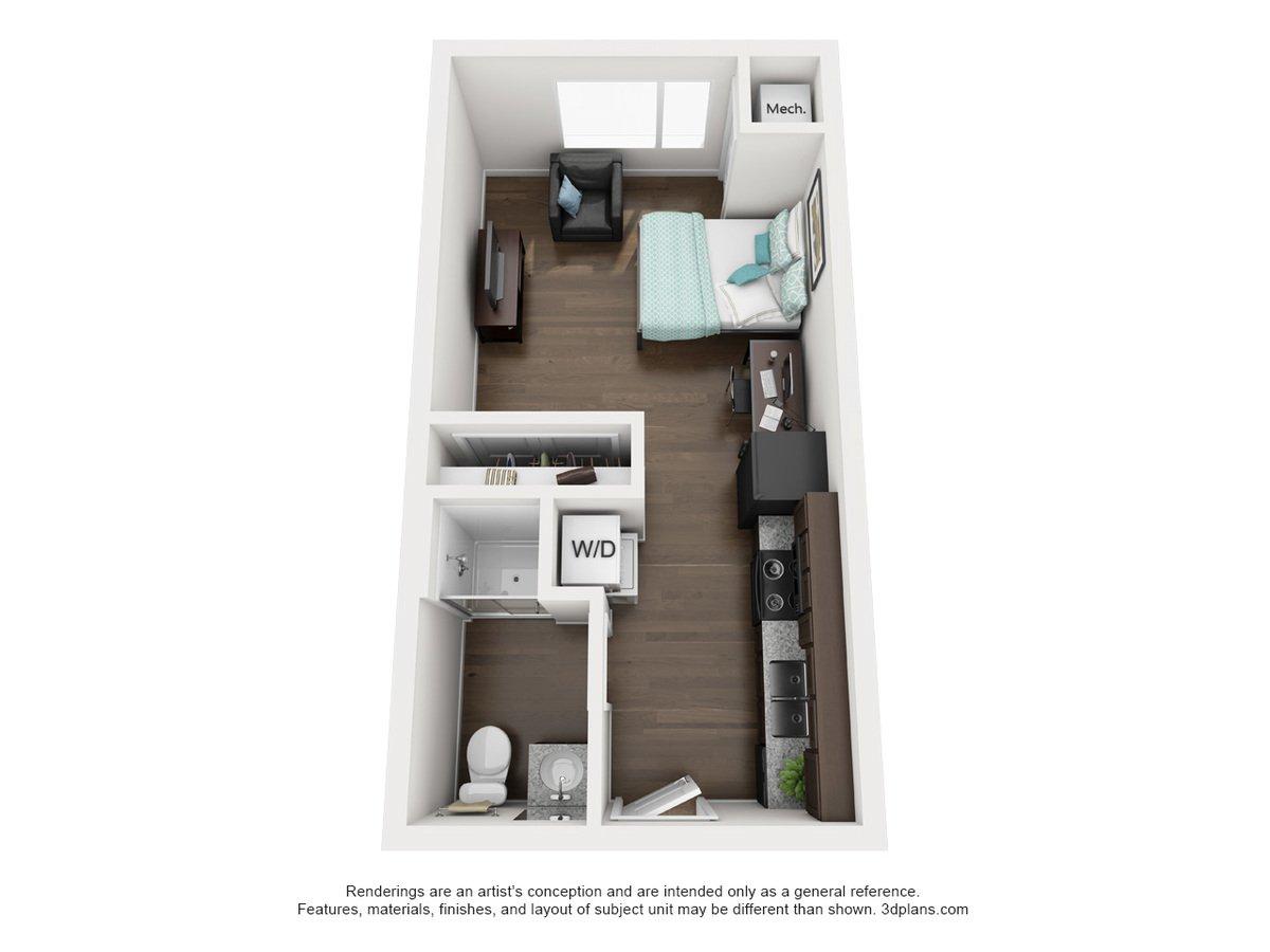 Studio 1 Bathroom Apartment for rent at Elm in Stillwater, OK