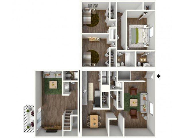 3 Bedrooms 2 Bathrooms Apartment for rent at Ivy Ridge in Marietta, GA