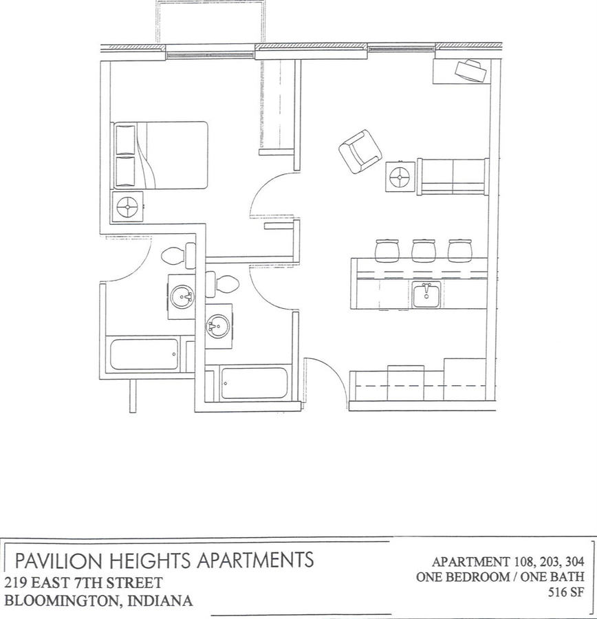 1 Bedroom 1 Bathroom Apartment for rent at 219 E. 7th St in Bloomington, IN