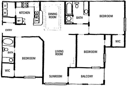 3 Bedrooms 2 Bathrooms Apartment for rent at Lexington On The Green Apartments in Lithonia, GA