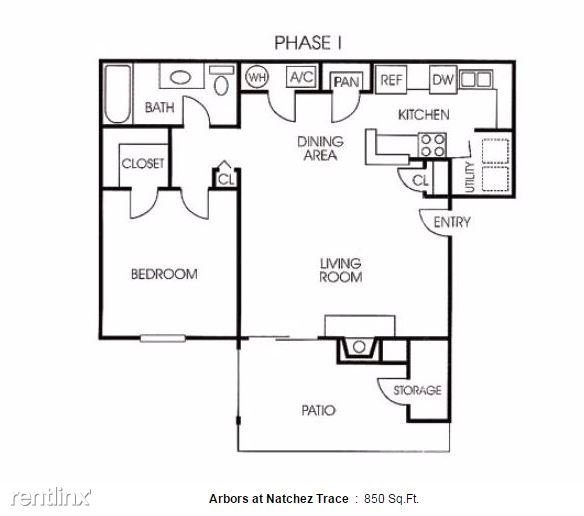1 Bedroom 1 Bathroom Apartment for rent at Arbors At Natchez Trace in Ridgeland, MS