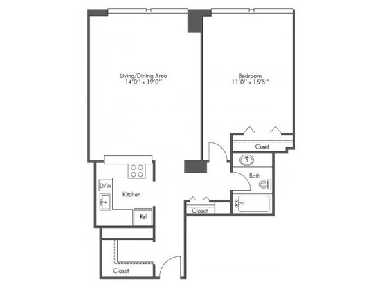 1 Bedroom 1 Bathroom Apartment for rent at Presidential Towers in Chicago, IL