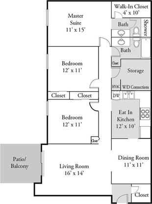 3 Bedrooms 2 Bathrooms Apartment for rent at Plainview Apartments in Louisville, KY