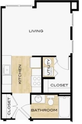 Studio 1 Bathroom Apartment for rent at 310 At Nulu Apartments in Louisville, KY