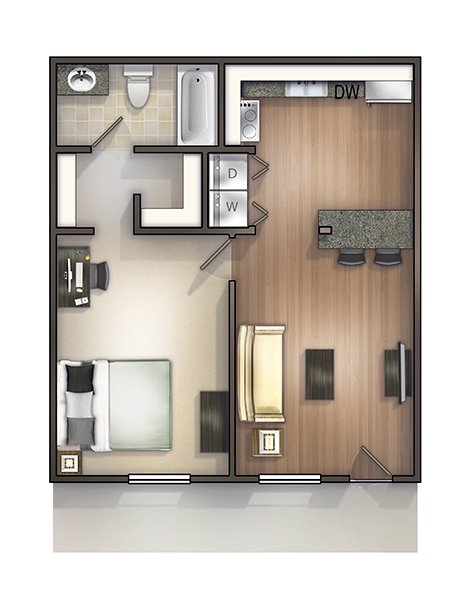 1 Bedroom 1 Bathroom Apartment for rent at Seminole Flatts in Tallahassee, FL