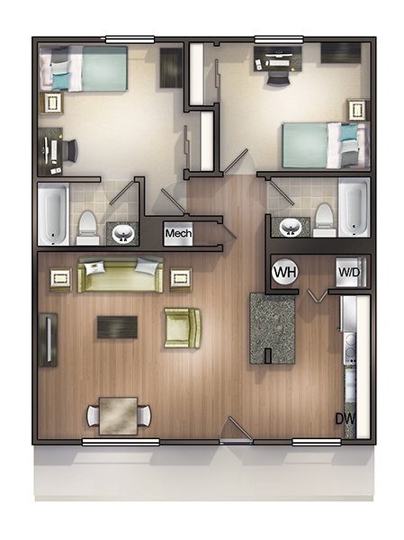2 Bedrooms 2 Bathrooms Apartment for rent at Seminole Flatts in Tallahassee, FL