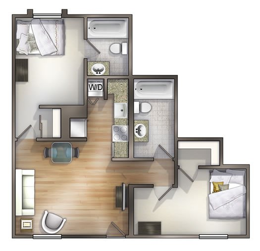 2 Bedrooms 2 Bathrooms Apartment for rent at University Lake Apartments in Tampa, FL