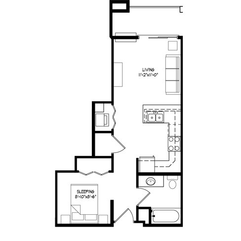 Studio 1 Bathroom Apartment for rent at Parman Place in Madison, WI