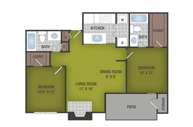 2 Bedrooms 2 Bathrooms Apartment for rent at Summer Grove in Austin, TX