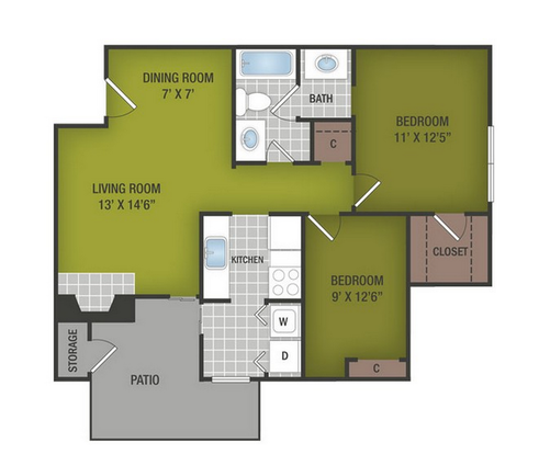 2 Bedrooms 1 Bathroom Apartment for rent at Summer Grove in Austin, TX