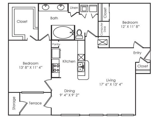 2 Bedrooms 1 Bathroom Apartment for rent at The Royal in Austin, TX
