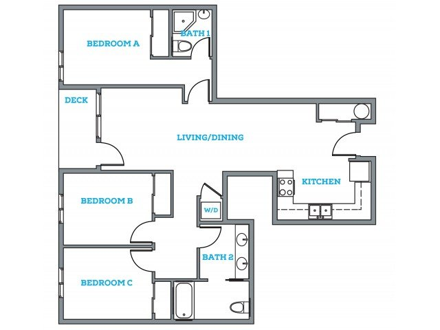 3 Bedrooms 2 Bathrooms Apartment for rent at The Pearl in Eugene, OR