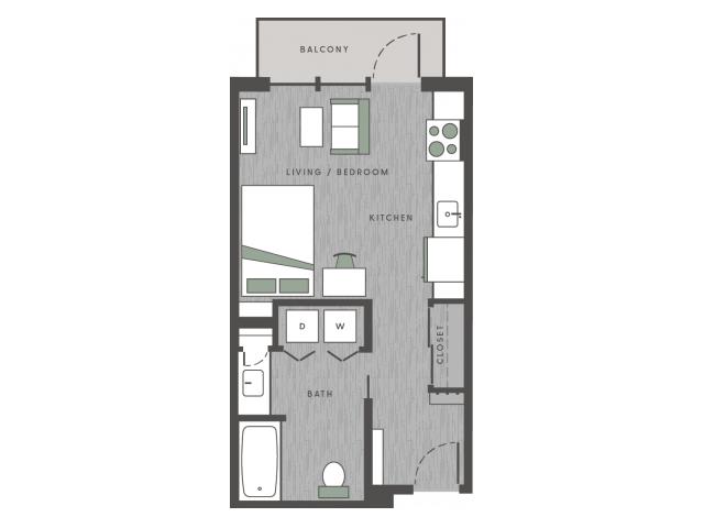 Studio 1 Bathroom Apartment for rent at 101 Center in Arlington, TX