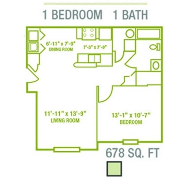 1 Bedroom 1 Bathroom Apartment for rent at Madden's Pointe in Columbus, OH