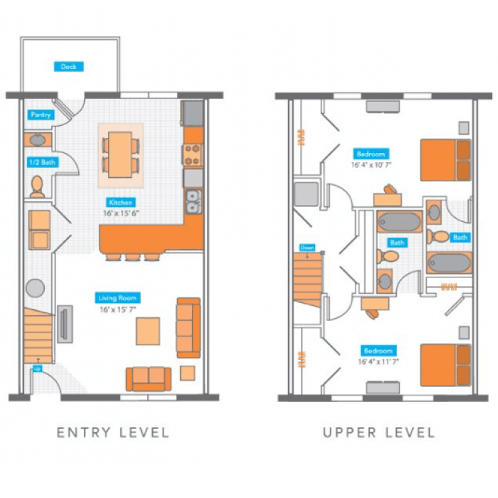 2 Bedrooms 3 Bathrooms Apartment for rent at Copper Beech Townhomes Klondike in West Lafayette, IN