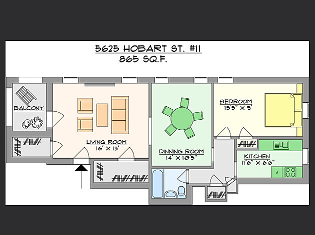 1 Bedroom 1 Bathroom Apartment for rent at Hobart Commons in Pittsburgh, PA