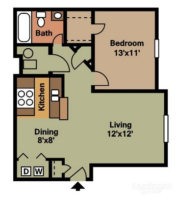 1 Bedroom 1 Bathroom Apartment for rent at Gateway Lakes in Grove City, OH