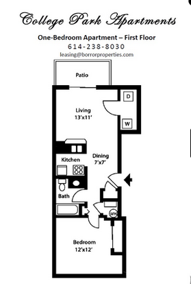 1 Bedroom 1 Bathroom Apartment for rent at College Park in Columbus, OH