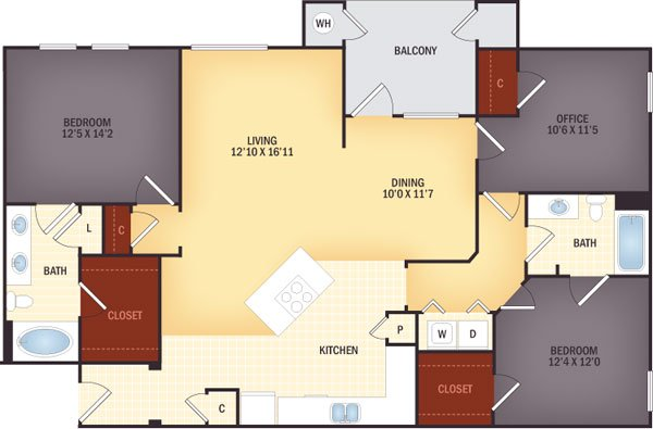 3 Bedrooms 2 Bathrooms Apartment for rent at Lugano At Cherry Creek in Aurora, CO