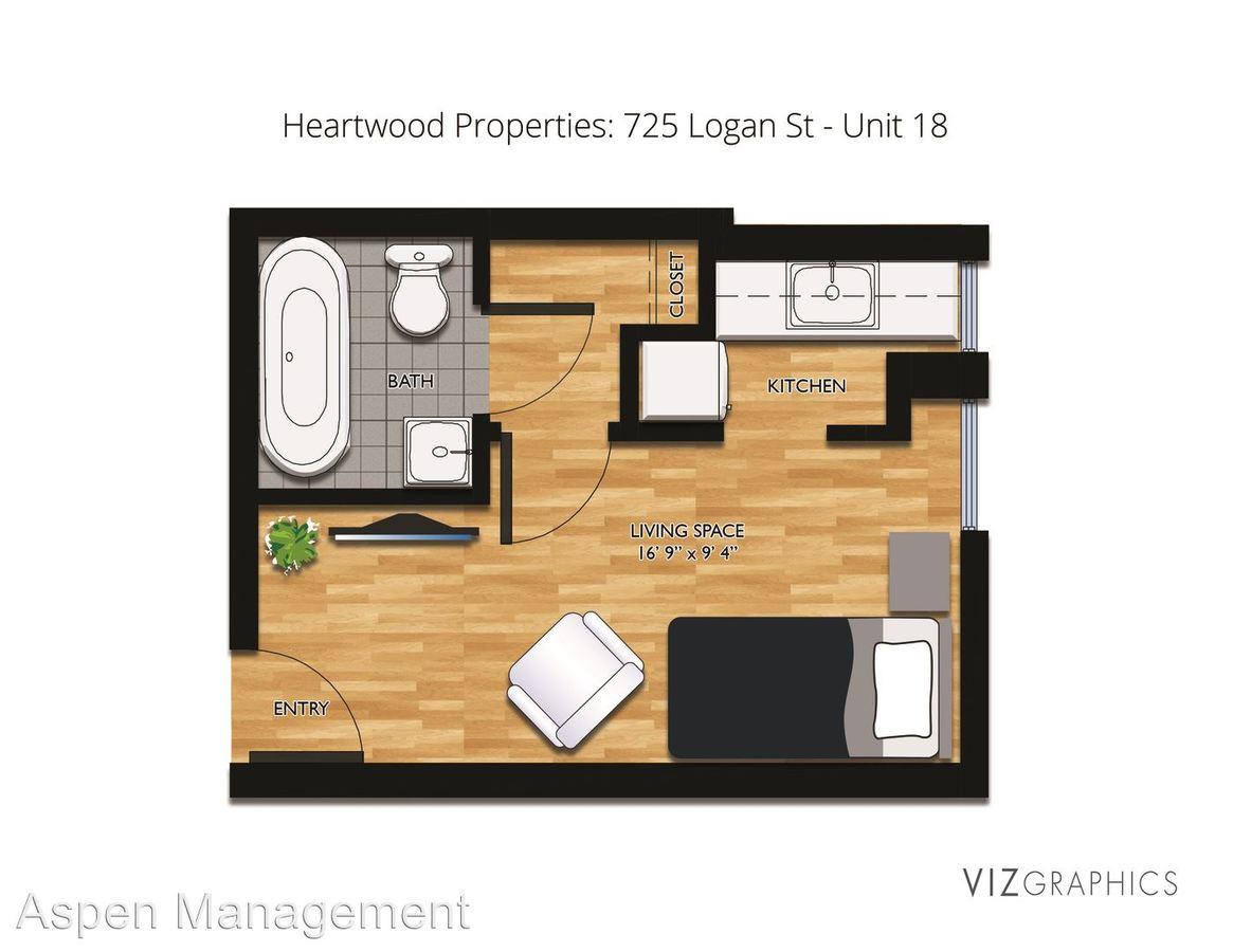 Studio 1 Bathroom Apartment for rent at 725 Logan Street in Denver, CO