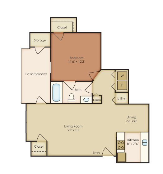 1 Bedroom 1 Bathroom Apartment for rent at St. Andrews Reserve in Wilmington, NORTH CAROLINA