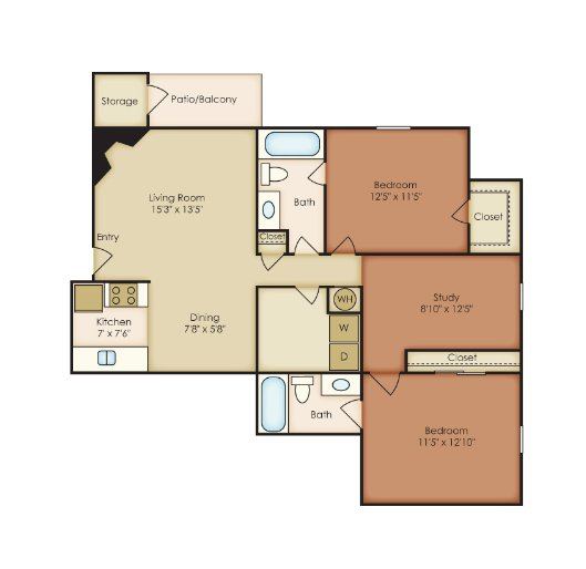 2 Bedrooms 2 Bathrooms Apartment for rent at St. Andrews Reserve in Wilmington, NORTH CAROLINA