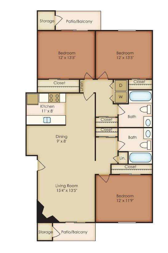 3 Bedrooms 2 Bathrooms Apartment for rent at St. Andrews Reserve in Wilmington, NORTH CAROLINA