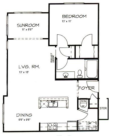 1 Bedroom 1 Bathroom Apartment for rent at Hawthorne At Main in Kernersville, NC