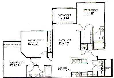 3 Bedrooms 2 Bathrooms Apartment for rent at Hawthorne At Main in Kernersville, NC